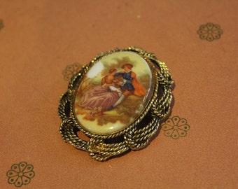 50's Vintage Fragonard Painting Brooch