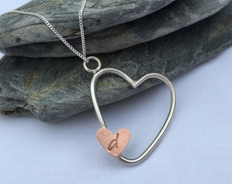 Initial Necklace, Personalised Necklace, Sterling Silver Necklace, Heart Necklace, Copper Heart Necklace, Everyday Necklace, Necklace Silver