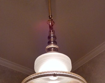 Vintage Hanging Westinghouse Street Lamp Lens Shade Solid Belgium Brass Hanger Repurposed