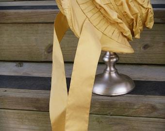 Yellow Gold Silk Taffeta Regency Bonnet