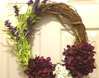 "14"" Willow branch backed Wreath-Purple-White-Flowers-Purple and Green Spray"