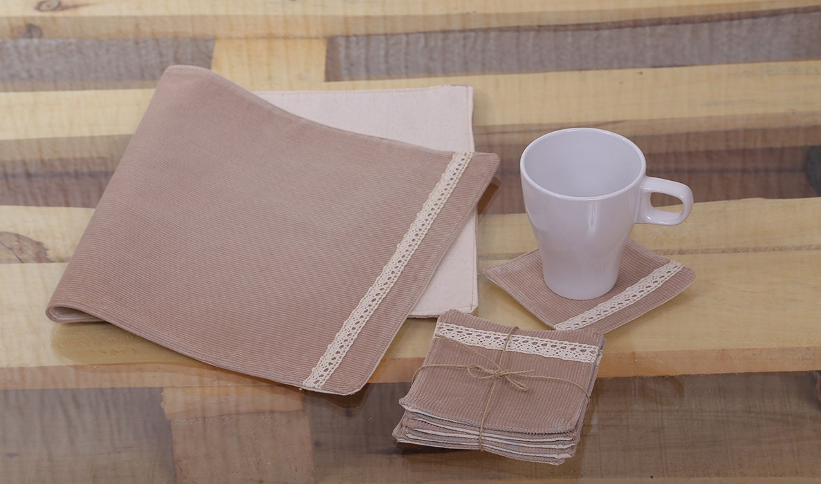 Rustic table set corduroy table runner and glass placemats for Glass table placemats