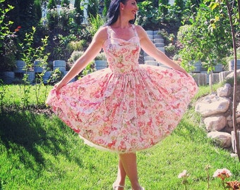 Pinup dress 'Etheral Fairies' Fairy Rockabilly dress, Roses vintage dress, Michael Miller Fairy fabric