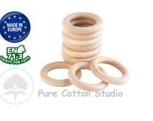 wood teething rings, set of 3 round wooden teethers, baby safe wood rings, organic, untreated beech wood rings, bulk, wholesale, supplies UK