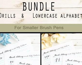 BUNDLE 2: Brush Lettering Practice Alphabet & Drills for Small Brush Pens