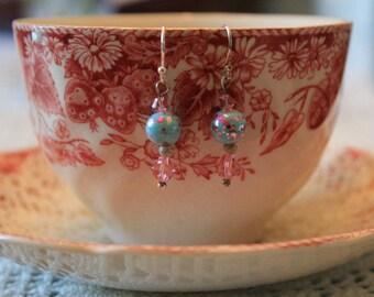 Girly pink/blue hoop earrings