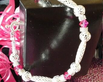 Bracelet Fancy silver fuchsia