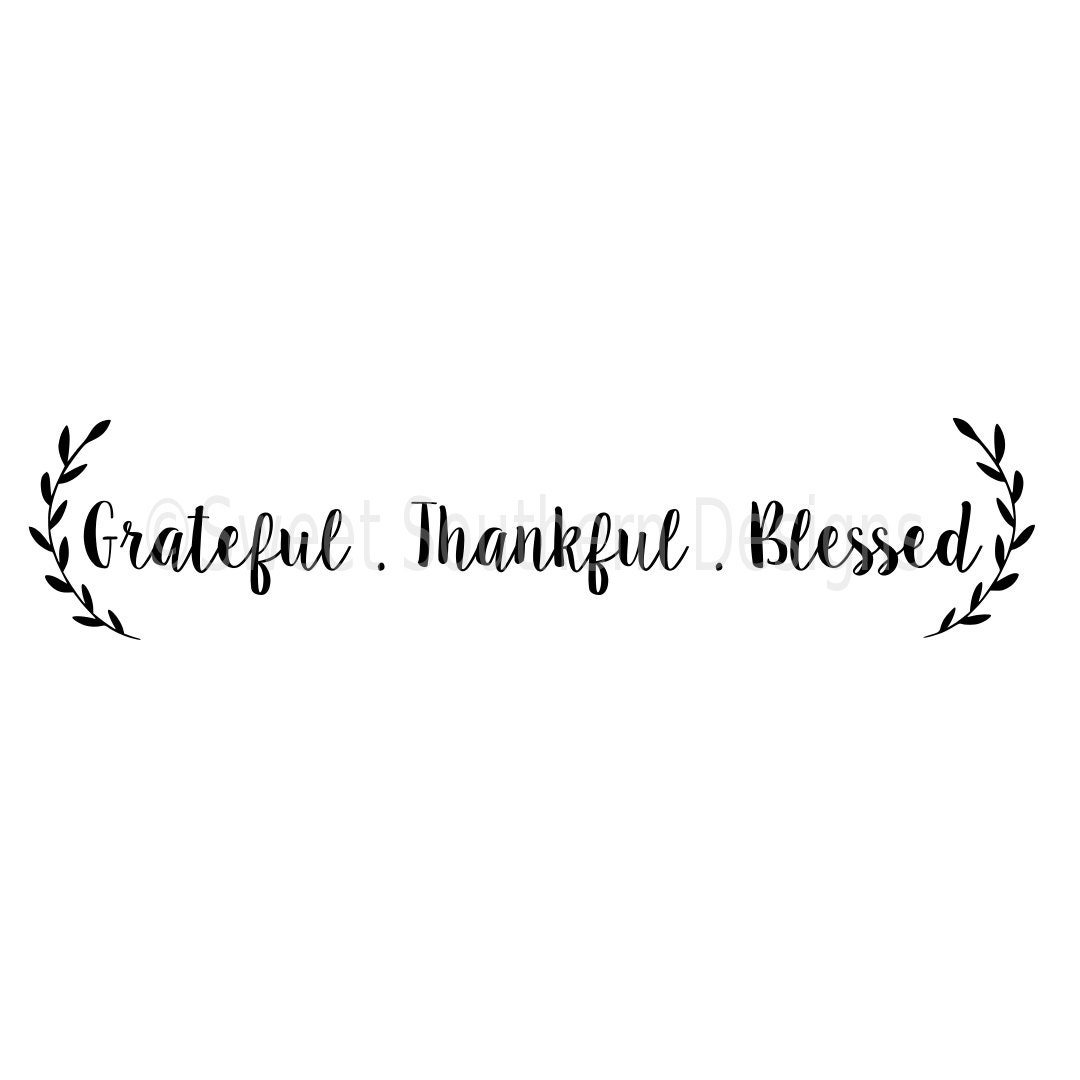 Grateful Thankful Blessed Fall Autumn Vertical Svg Instant