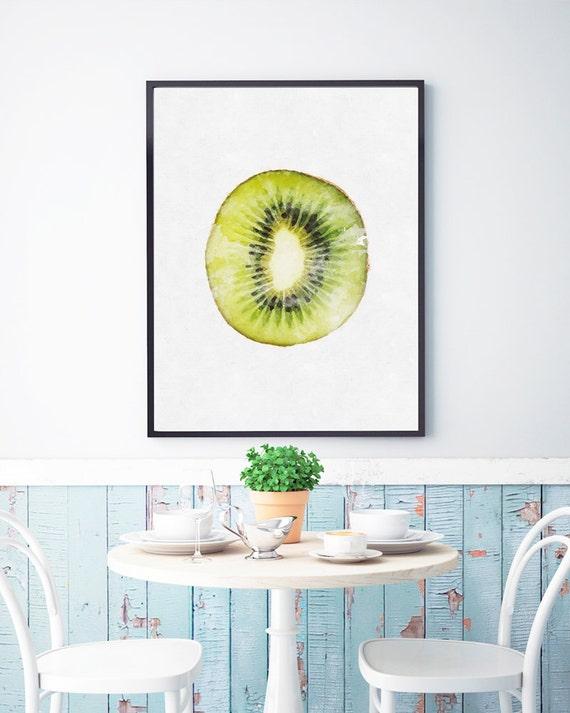 Kiwi print kiwi printable tropical decor fruit by foxycreative for Decoration kiwi