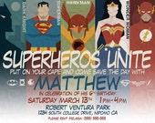 Superhero Birthday Invitation, Superheros Unite, Batman invitation, superman invitation, comic invitation