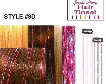 Hair clips with pink  Sparkling tinsel or choose Blue, Silver or Gold