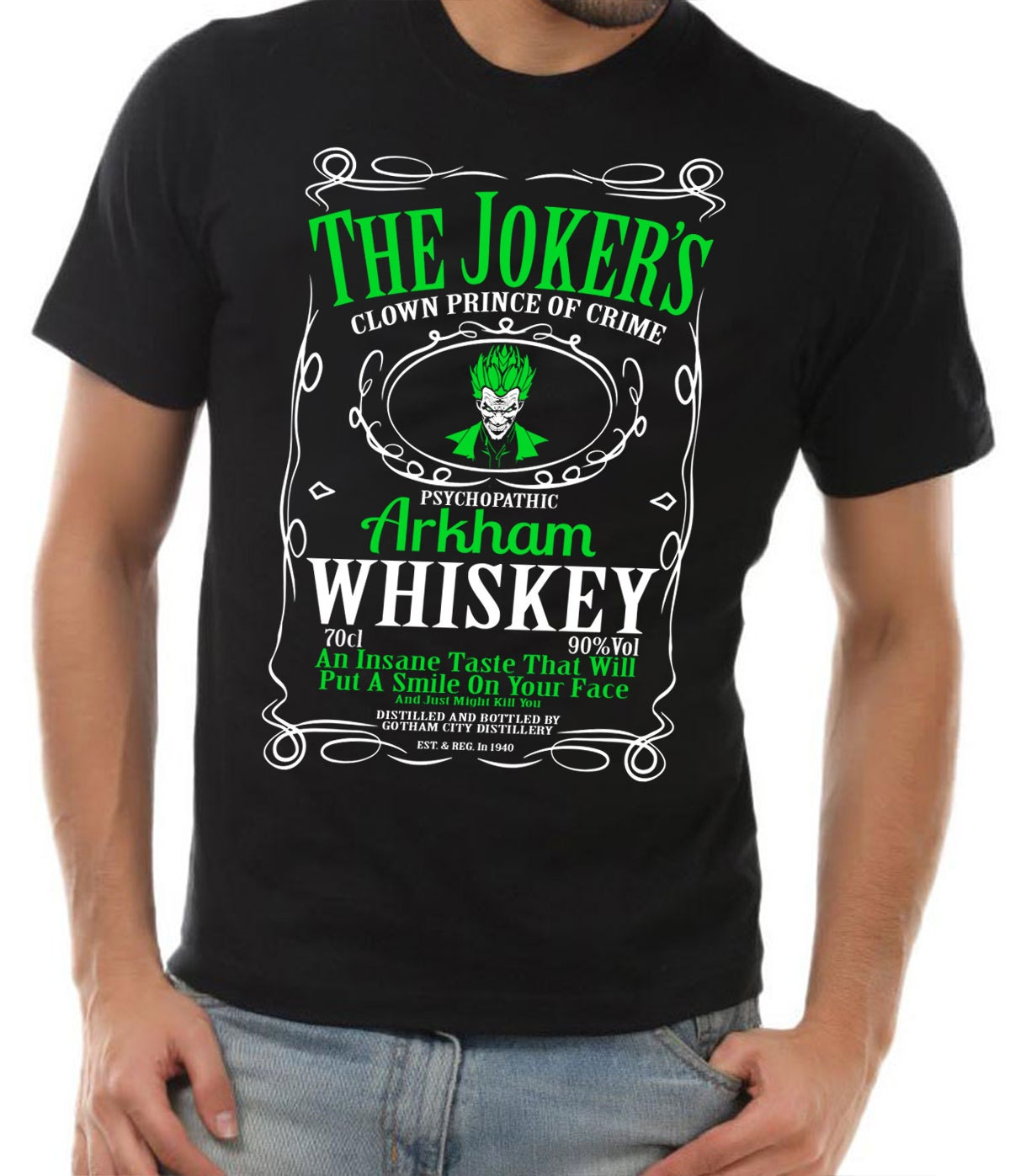 The Joker T-shirt Arkham Whiskey Black Unisex Shirt Suicide