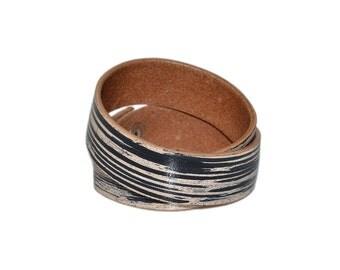 Double Wrap Leather Bracelet Black / Leather Band Bracelet, Mens Bracelet / Leather Cuff Bracelet, Leather Wristband, Leather Wrap Bracelet