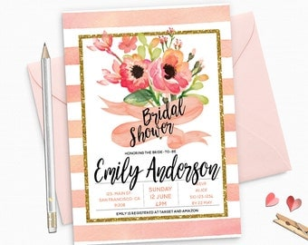 Gold Glitter Bridal Shower Invitation, Peach Floral Peonies Custom Bridal Shower Invitation - Colorful Floral unique Glittery - BS29