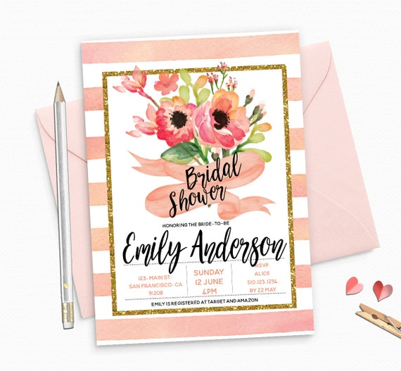 Gold Glitter Bridal Shower Invitation, Peach Floral Peonies Custom Bridal Shower Invitation - Colorful Floral unique Glittery