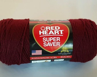 Red Heart Super Saver CLARET Yarn 7 oz Worsted Weight 4