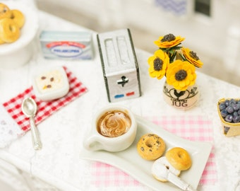Cappuccino and Bagels with Cream Cheese Breakfast Combo - 1:12 Dollhouse Miniature