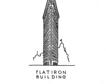 Flatiron Building Art Print - Landmark of New York, USA - Sketch of building - Gifts for anyone - Wall decoration