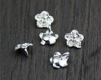 10 Sterling silver flower charm, flower pendant,silver flower charm,DIY Findings for Bracelet and Necklace