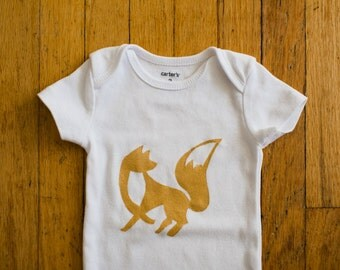 baby clothes, fox baby onesie in gold, 0 to 3 months short sleeve
