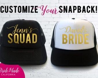 Custom Trucker Hats, Personalized Squad Hat, Bride Squad Caps, Bridal Party, Bride Hat, Bachelorette Party Trucker Hats, Bridal Party Hats