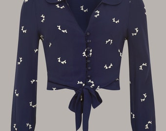 40's Authentic Inspired 'Clarice' Blouse in Navy Doggy Print