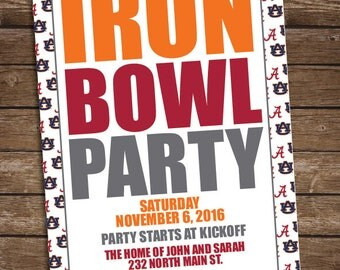 Iron Bowl Football Party Invitation - Auburn Alabama