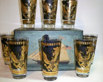 1960 FRED PRESS Vintage Signed Bar Glasses,Mid-Century 22-Karat Gold Leaf&Black Set 8 Glasses, Highball,American Eagle Crest,Christmas Gifts