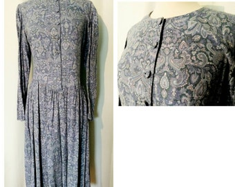 CLEARANCE! Laura Ashley Blue Paisley 80s Dress