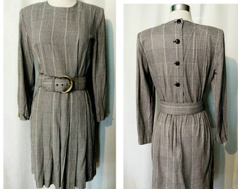 Petite Sophisticate Checked Dress with Wide Belt and Button Down Back