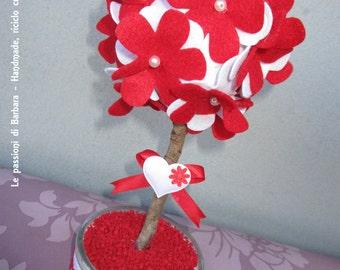 Sapling with felt flowers