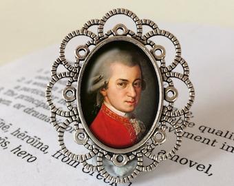 Wolfgang Amadeus Mozart Brooch - Mozart Brooch, Mozart Jewelry, Classical Composer, Amadeus Brooch, Music Jewelry, Mozart Vintage Jewellery
