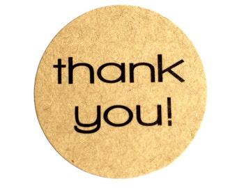 Thank You Stickers (set of 36) - Round Kraft Thank You Stickers (3cm diameter)