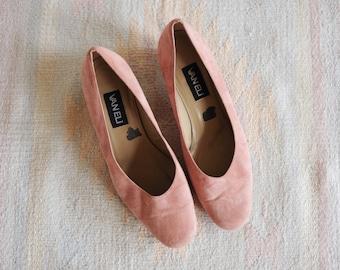 Vintage Van Eli Pink Suede Leather Heels, Womens 9