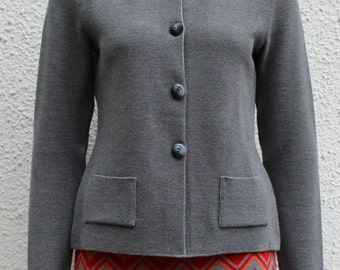 Knit jacket made of Merino Wool, knitted in MOSS, 34, 36, 38, 42 grey
