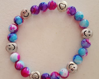 Happy Hearts Tie-Dyed Stretch Bracelet
