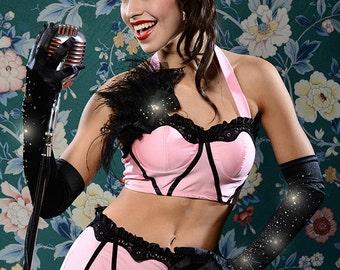 Ruffle Bustier Top - pink/black - xs