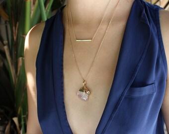 Dainty horizontal gold bar necklace