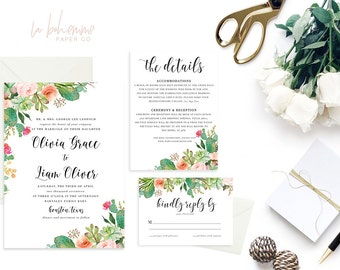 Printable Wedding Invitation Suite / Wedding Invite Set - The Summer Succulent Suite
