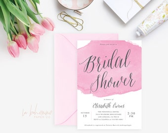 Printable Bridal Shower Invitation /  Shower Invite, Watercolor Invitation, Wedding Shower, - Wisteria