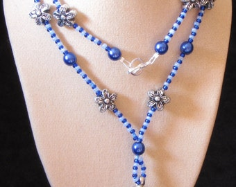 "20"" Blue Tassle Beaded Necklace (PH31)"