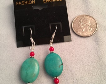 Cute Turquoise and Red Coral Drop Earrings