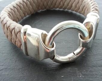 "Leather wristband ""Nude"""