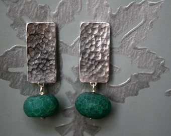 Sterling Silver and Green Agate earrings