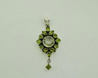 Peridot gemstone and Green Amethyst Pendants