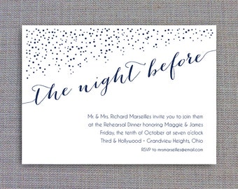 Printable Rehearsal Dinner Invitation Template • Instant Download • The Night Before in Navy
