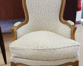 Chair Bergère Louix XVI restored and retapissée