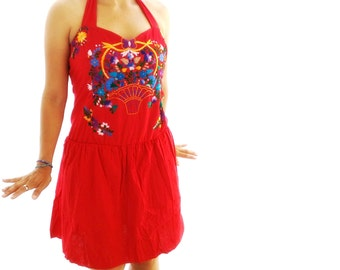 Princces Mexican Embroidered Heart Halter Mini Dress