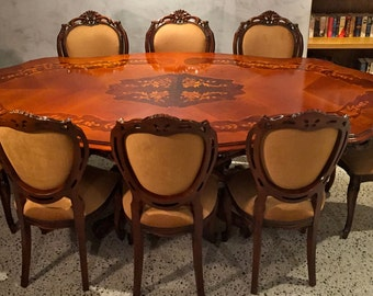 Antique Italian Table And 8 Carvers Chairs