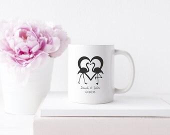 Mug - Personalised Wedding Mug Flamingos -  Gift For Couples - Wedding Gift -  Coffee Lover -  Personalised With Names Date- Secret Santa